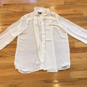 Mango MNG sheer white shirt bow Sz M